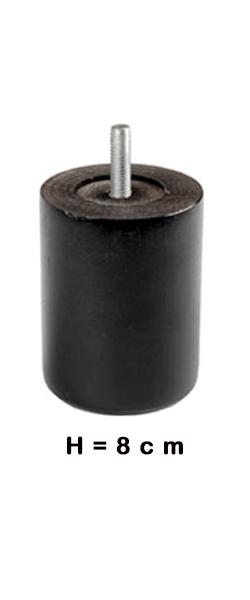 Poten ROND zwart 8cm hoog