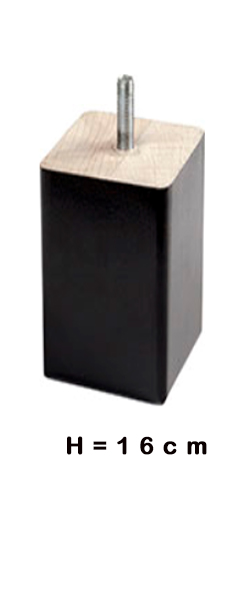 Poten VIERKANT zwart 16cm hoog